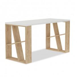 119-001028 Γραφείο Honey pakoworld χρώμα λευκό - light oak 140x60x75εκ