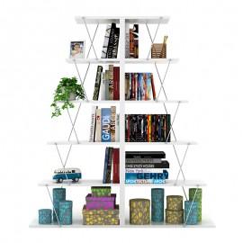 200-000167 Βιβλιοθήκη mini Tars pakoworld χρώμα λευκό με λεπτομέρειες χρωμίου 130x22x146εκ