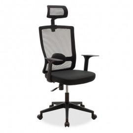 069-000023 Καρέκλα γραφείου διευθυντή Oregon pakoworld με ύφασμα mesh χρώμα μαύρο