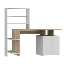 120-000082 Γραφείο με ραφιέρα Melis pakoworld χρώμα λευκό-sonoma 146x60x129εκ
