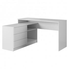 089-000029 Γραφείο εργασίας Teo pakoworld με συρταριέρα χρώμα λευκό 138x50,5x76εκ