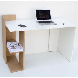 TO-DESKHOSHELF Γραφείο 120x55x85 Λευκό-με Φυσικό Μοντέρνα Σχεδίαση