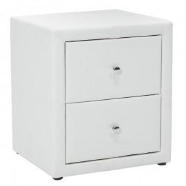 006-000007 Κομοδίνο Como pakoworld με δύο συρτάρια PU χρώμα λευκό ματ 47x42x53εκ