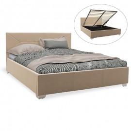 006-000024 Κρεβάτι Smooth pakoworld διπλό ύφασμα μπεζ με αποθηκευτικό χώρο 160x200εκ