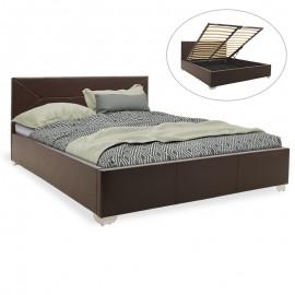 006-000023 Κρεβάτι Smooth pakoworld διπλό pu σκούρο καφέ με αποθηκευτικό χώρο 160x200εκ