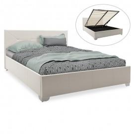 006-000022 Κρεβάτι Smooth pakoworld διπλό pu λευκό ματ με αποθηκευτικό χώρο 160x200εκ