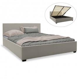 006-000030 Κρεβάτι Norse pakoworld διπλό ύφασμα γκρι με αποθηκευτικό χώρο 160x200εκ