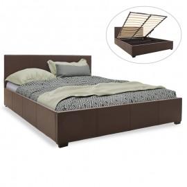 006-000028 Κρεβάτι Norse pakoworld διπλό pu σκούρο καφέ ματ με αποθηκευτικό χώρο 160x200εκ