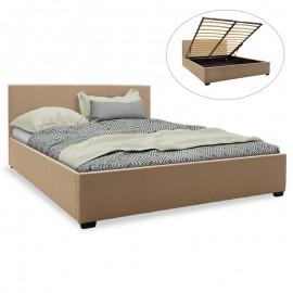 006-000029 Κρεβάτι Norse pakoworld διπλό ύφασμα μπεζ με αποθηκευτικό χώρο 160x200εκ
