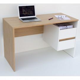 TO-DESKHO2S Γραφείο 120x55x75εκ Λευκό με Φυσικό Μοντέρνα Σχεδίαση με Συρτάρια