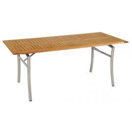 14317-MAL-16-TEAK-INOX Ξύλινο Παραλ/μο Σταθερό Τραπέζι Teak Με Ανοξείδωτο Σκελετό 160 x 85cm