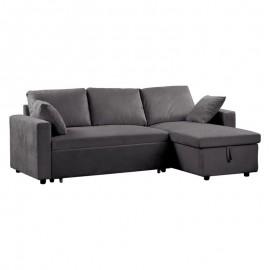 Ε9586,10 MONTREAL Καναπές Κρεβάτι Γωνία Αναστρέψιμη με Αποθηκευτικό Χώρο - Microfiber Γκρι