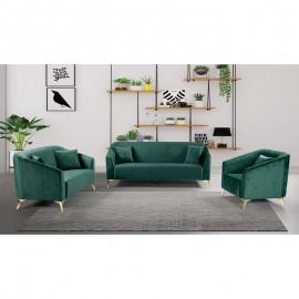 Ε9634,1S LUXE Set Σαλόνι : Καναπές 3Θέσιος + Καναπές 2Θέσιος + Πολυθρόνα Ύφασμα Πράσινο