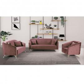 Ε9634,2S LUXE Set Σαλόνι : Καναπές 3Θέσιος + Καναπές 2Θέσιος + Πολυθρόνα Ύφασμα Antique Pink