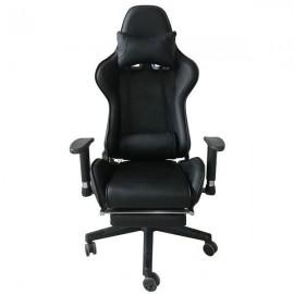 13829------2 Καρέκλα gaming μαύρη τροχήλατη Υ124x52x47,5εκ