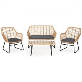 13861------2 Florida σετ σαλόνι εξωτ. χώρου 4τεμ. διθέσιος καναπές,2 καρέκλες και τραπέζι Υ82x116x80εκ.,Υ82x66x80εκ.- Υ42x95x55