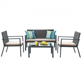 13862------2 Ibiza σετ σαλόνι εξωτ. χώρου 4τεμ. διθέσιος καναπές,2 καρέκλες και τραπέζι Υ76x122x68εκ.,Υ76x65x68εκ.- Υ37x79x59εκ