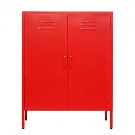 32807-02---2 Nextdeco ντουλάπα κόκκινη μεταλλική δίφυλλη Υ102x80x40εκ.