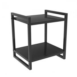 35961-09---2 Κομοδίνο-τραπέζι μεταλλικό 2 επιπέδων μαύρο Υ50x40x35εκ