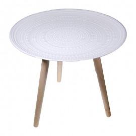 35063------2 Τραπέζι ξύλινο στρόγγυλο Υ42x40εκ. με 3 πόδια