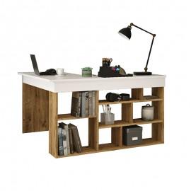 176-000010 Γραφείο γωνιακό Rosaline pakoworld λευκό-oak 129x120x72εκ