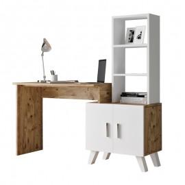 176-000021 Γραφείο-ραφιέρα Kairo pakoworld λευκό-oak 150x45x138εκ