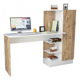 176-000020 Γραφείο-ραφιέρα Kary pakoworld λευκό-oak 152,5x40x120εκ