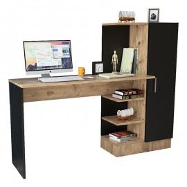 176-000019 Γραφείο-ραφιέρα Kary pakoworld μαύρο-oak 152,5x40x120εκ