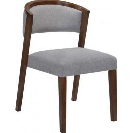 e7766,13 Καρέκλα KEVIN με καρυδί ξύλινο σκελετό και ανοιχτό γκρι ύφασμα