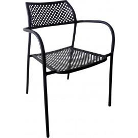 Πολυθρόνα μεταλλική BRAND Mesh Μαύρη (Ε525)