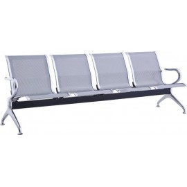 Κάθισμα υποδοχής 4θέσιο χρωμίου με ύφασμα mesh σε χρώμα γκρι 232x68x80 E504,01