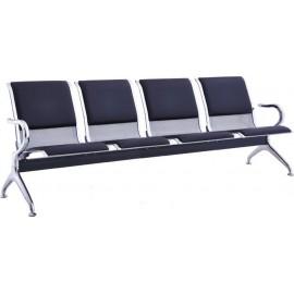 Κάθισμα υποδοχής 4θέσιο χρωμίου με PVC σε χρώμα μαύρο 232x68x80 E504,02