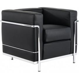 e947,12 Πολυθρόνα GENOVA (86x73x71) Inox/Pu Μαύρο