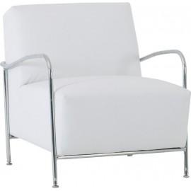 e953,11 Πολυθρόνα Granada χρωμίου με τεχνόδερμα PU σε χρώμα λευκό