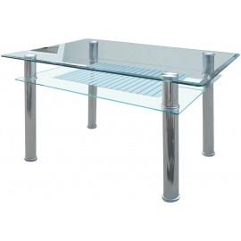 Veron Τραπέζι inox δίπατο-με γυαλί